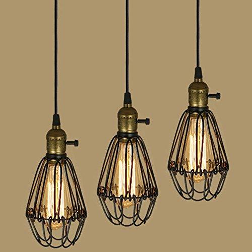Edison Vintage Industrial Metal Pendant Light Chandelier Bird Cage Hanging Ceiling Lamp
