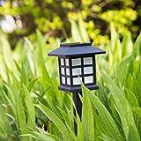 [2 PACK ]Eyoo Lumières solaires, projecteur alimenté par solaire Lumière de sécurité réglable sol 2 en 1 Lumière de sécurité étanche pour jardin extérieur Garden Lawn - Auto-On / Off