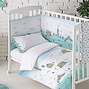 Eiffel Textile Italia Baby Protector Cuna Acolchado Chichonera bebe 100% Algodón Calidad Diseño Infantil, Tama