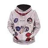 Herren Print Hoodie Astronaut Pocket Sweat Shirt Übergröße Langarm-Kapuzenshirt Pullover Top