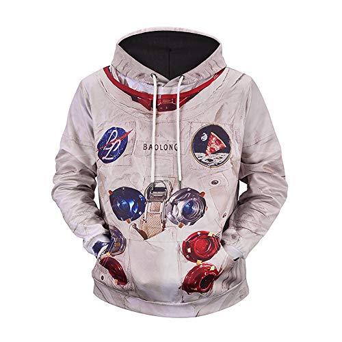 Herren Print Hoodie Astronaut Pocket Sweat Shirt Übergröße Langarm-Kapuzenshirt Pullover Top (Color : Multi-Colored, Size : L)