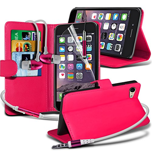 Aventus ( Red ) Apple iPhone 6 Plus Case Custom Made magnétique flip Cover stand couverture de peau de cas Card Slot Wallet + Film de protection écran avec Chiffon, écran tactile Stylet & aluminium ha Wallet + Earphone ( Hot Pink )