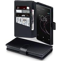 Xperia XZ1 Hülle, Terrapin [ECHT LEDER] Brieftasche Case Hülle mit Standfunktion Kartenfächer und Bargeld für Sony Xperia XZ1 Tasche - Schwarz