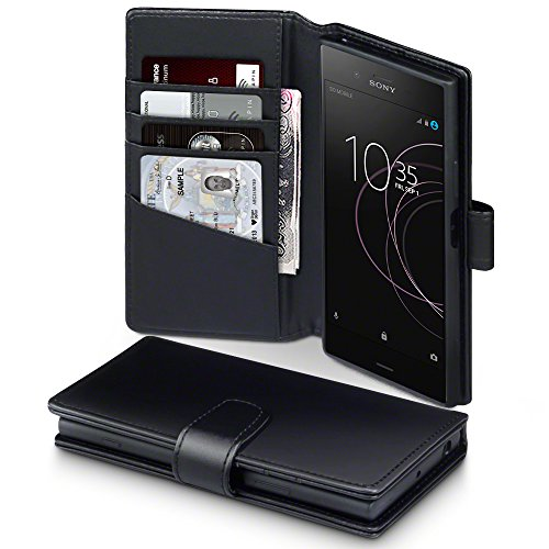 Terrapin, Kompatibel mit Sony Xperia XZ1 Hülle, [ECHT LEDER] Brieftasche Case Tasche mit Standfunktion Kartenfächer und Bargeld - Schwarz EINWEG