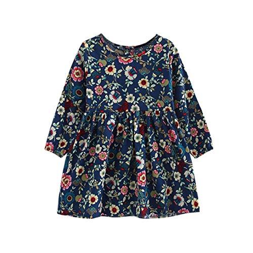 Uomogo vestito ricamo floreale manica lunga casuale cotone bambina 3-11 anni, 100-140 cm