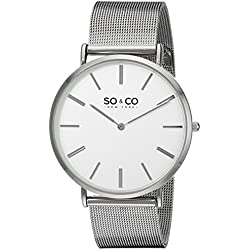 SO & CO New York Madison Men's Quartz Watch with White Dial Analogue Display and Silver Stainless Steel Bracelet 5102.2