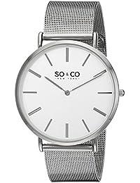 SO & CO New York 5102.2 - Reloj de cuarzo para hombres, plateado