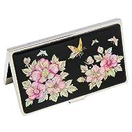 Rose Fleur Nacre Métal Business Inox Sharon de porte-nom avec porte-carte d'identité Pochette de rangement
