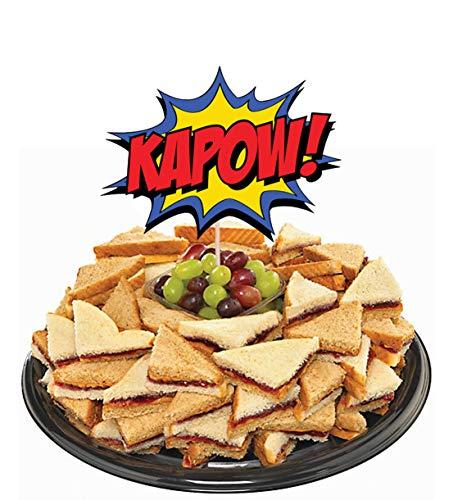 51hdKjmj1sL - AK Giftshop Call out Speak - Burbujas de Dibujos Animados de superhéroes para cumpleaños, Eventos, Comida para Fiestas, Cupcakes, Palillos y Decoraciones para Banderas de Alimentos (Pack de 14)