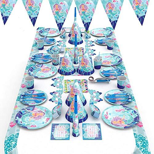 -Party-Set - Ultimate Under The Sea Geburtstagsteller, Cupcake- und Kuchendekoration, Tischdecke, Party-Einladungen ()
