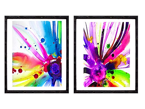 set-of-2-colourful-abstract-art-prints-fashion-illustrations-blue-floral-flowers-interior-design