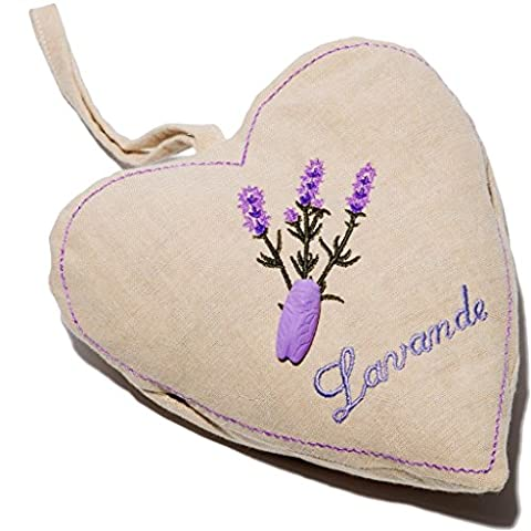 Le Chatelard 1802–Embroidered Linen Cushion–Lavender Heart–120g