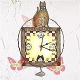 VariousWallClock Wall Clocks Wanduhr Uhren Wecker Uhr Haushalt Pendeluhr Europäische Art der Katze und der Maus alte Harzuhr Uhr hängende Uhr der Kunstschwingenuhr
