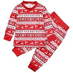 BESBOMIG Festivo Pijamas Familia Juego para Navidad - 2 Piezas/Mono Top Manga Larga Pantalones Rayas para Traje de Casa Kids Niños Niñas Adulto Padres-Hijos