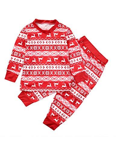 BESBOMIG Festliche Passende Familie Pyjamas Schlafanzug für Weihnachten -