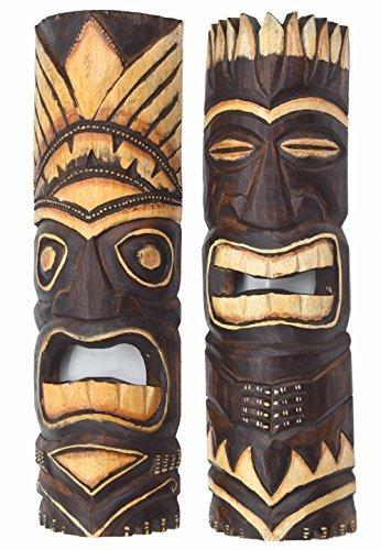 2-Tiki-Mscaras-de-madera-50cm-IM-HAWAI-Estilo-Set-de-dos-Mscara-Mscara-de-pared-MAUI