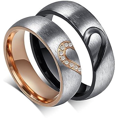 LianDuo delle donne degli uomini in acciaio inox di puzzle cuore di corrispondenza Matrimonio anello di fidanzamento banda promessa per le coppie, libero incisione