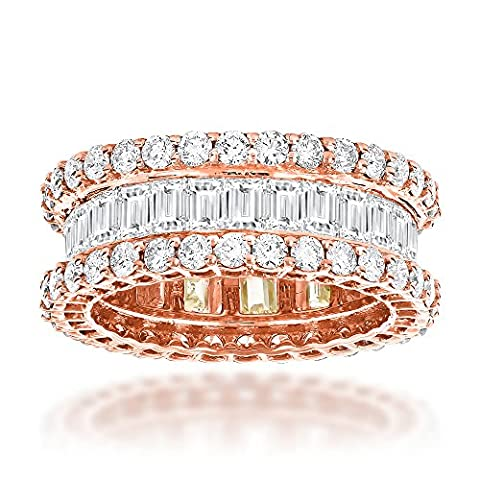 Luxurman Ladies 14K Baguette and Round Natural Diamond Eternity Band (Rose Gold Size 9.5)