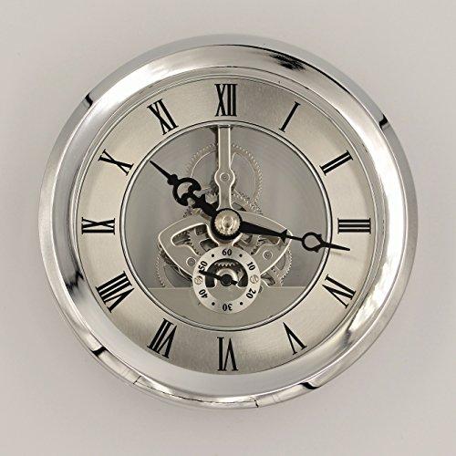 Unbekannt Einbau-Uhr Einsteckuhrwerk Einsteckwerk Einbauuhr Modellbau-Uhr Ø 104 mm Gold Nr.18 (Silber)