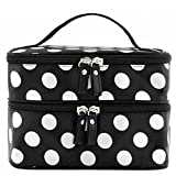 Generic Fashion Cute Lady's Dot Pattern Makeup Case Double Layer Cosmetic Hand Bag Tool Storage Toiletry (Black)