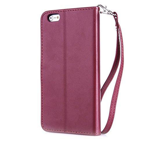 MOONCASE iPhone 5C Coque Pochette Housse en Cuir TPU Case avec Béquille pour Apple iPhone 5C Etui à rabat Portefeuille Porte-cartes Bleu Bourgogne