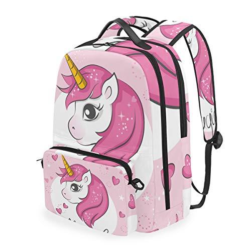 Cpyang, zaino per la scuola, con grazioso animale, unicorno, cuore, stella, tracolla staccabile, borsa da viaggio per computer portatile, per ragazzi, donne e uomini