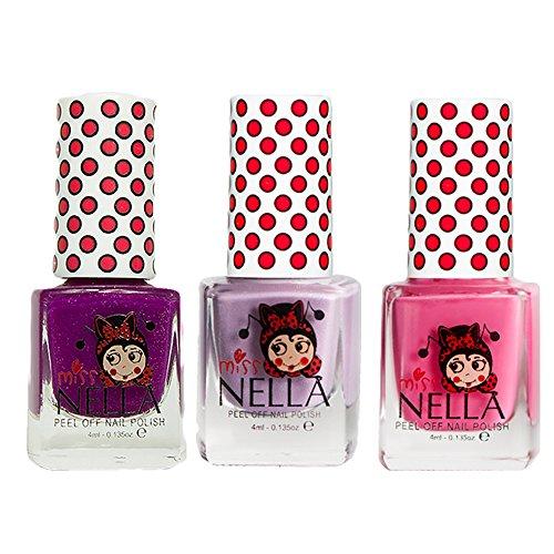 Miss Nella Schaukel rosa A Boo, Schmetterling Flügel Glitzer, Jazzberry Jam spezielle Glitzer Kinder Nagellack mit Peel Off auf Wasserbasis ()