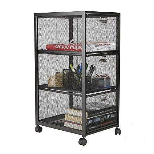 Mind Reader 3TWHEEL-BLK 3-Tiered, Rolling Mesh, Metal, Drawers, File, Utility, Office Storage, Heavy Duty Multi-Purpose Cart, Black