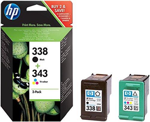 Hp 338-343 combopack sd449ee, confezione da 2 cartucce originali per stampanti a getto di inchiostro hp officejet 6210, 6310, 7110, 7310xi, photosmart 2610, 2710, 425 e psc serie 2355 nero e tricomia
