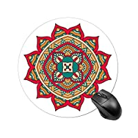 """DKISEE Round Bohemian Mouse Pad, Mandala Mouse Mat, Non-Slip Rubber Base Mousepad for Home Office Working Studying Gaming, Small Size 7.8""""x7.8"""""""