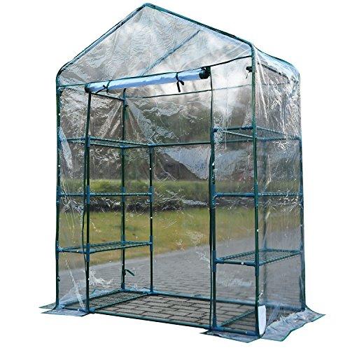 Outsunny 4Etagen 8Ablagen Metall Rahmen Walk In Tragbare Gewächshaus–Transparent