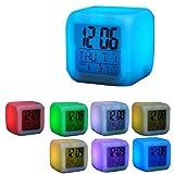 7 LED Farb Würfel Uhr mit digitalen LCD Display, Kalender, Wecker, Thermometer, Alarm Funktion, sehr stylisch, Eröffnungsangebot (32)