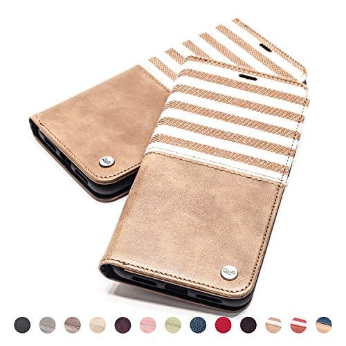QIOTTI Hülle Kompatibel mit iPhone 6s Plus iPhone 6 Plus Ledertasche aus Hochwertigem Leder RFID NFC Schutz mit Kartenfach Standfunktion in Braun