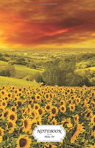 Notebook : Sunflowers Italian hills landscape: Journal Dot-Grid,Graph,Lined,Blank No Lined, Small Pocket Notebook Journal Diary, 120 pages, 5.5
