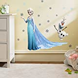 Kibi Frozen Disney Stickers Muraux Reine des Neiges Salon Amovible Stickers Mural Elsa, Chambre Bebe Autocollants Frozen, Stickers Muraux Chambre Enfant Fille Princesse