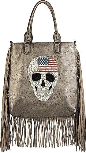 styleBREAKER Handtasche mit USA Design Totenkopf, schwarzem Strass und langen Fransen, Umhängetasche, Damen 02012064, Farbe:Antik-Dunkelgrau Antik-Gold