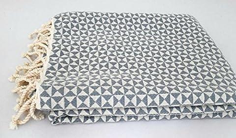 Fouta Diamond   Generously sized, luxurious bath towel (39x75 inch) by ZusenZomer   Elegant diamond fabric   100% high quality cotton   Salmon with grey   XXL   100X190cm (39x75 inch)