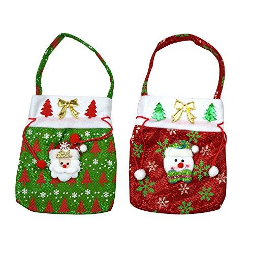 2-Weihnachten Weihnachtsmann mit Sack, Motiv Candy Weihnachtsstrumpf-Füller-Geschenk-Taschen (Print Pants Knit)