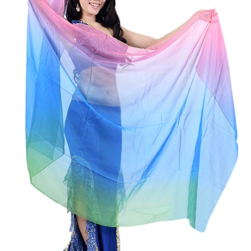 BellyLady Belly Dance Three-color Chiffon Veil For Belly Dancers, Blue/Green/Pink