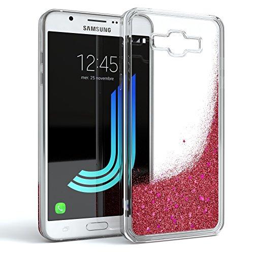 EAZY CASE GmbH Hülle für Samsung Galaxy J5 (2016) Schutzhülle mit Flüssig-Glitzer, Handyhülle, Schutzhülle, Back Cover mit Glitter Flüssigkeit, aus TPU/Silikon, Transparent/Durchsichtig, Rosa