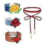 MingJun 4 Stücke Rote Samt Choker Kette Set Braun gestickte Blume Halskette Stretch Mode Nette Halsband Hals für Mädchen 90er Jahre