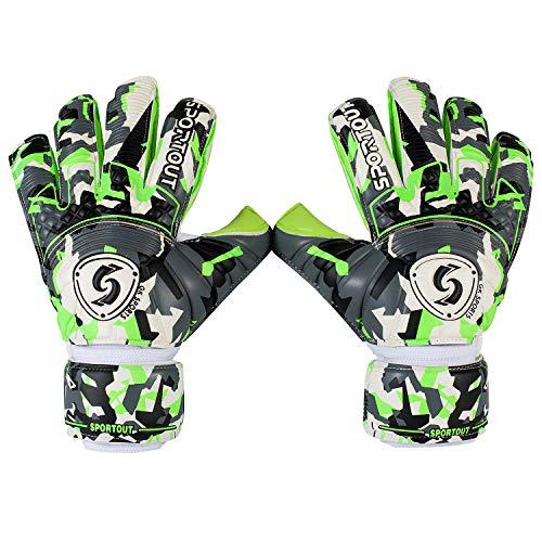 Sportout Hochwertige Torwarthandschuhe für Jugendliche und Erwachsene, Fußball Handschuhe mit strapazierfähigem 4 mm Latex und abnehmbarem Finger Schutz, ermöglichen eine Starke Kontrolle(8)