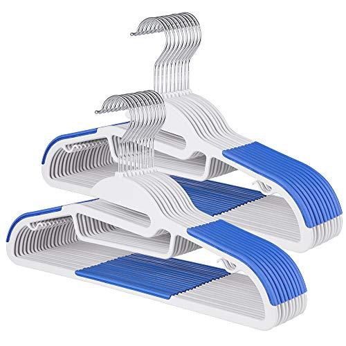 Sable Kleiderbügel 20Stk Anzugbügel ABS Plastik Bügel Antirutsch Multifunktionsbügel für Kleider/Jacken/Hosen/Krawatte 360° Chrom Drehhaken blau & weiß