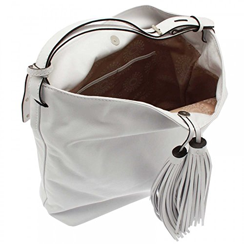 Abro Soft Leather Tassel Shoulder Handbag White