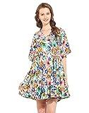 Floral Printed Polyester Skater Dress Sm...