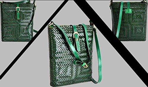 DJB/ Retro-Magnetverschluss geflochtene Leder Umhängetaschen handgewebte Tasche Green