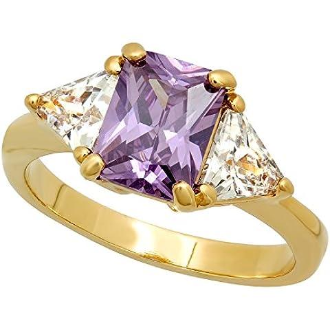 Emerald-Cut svenimento da donna placcato oro viola cz anello, placcato oro, cod. GL-BSR30-08