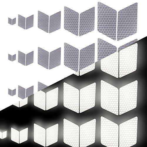 Tuqiang Diamant-Form Reflektierendes Klebeband Wasserdicht Selbstklebend Für Buggy und Kinderwagen Motorradhelm Hohe Sichtbarkeit Band Sicherheit im Freien Reflektierend Aufkleber 25 Stück Weiß -