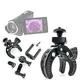 DURAGADGET Soporte Universal Tipo Pinza para Manillar de Bicicleta para Videocámara ESDY 720P | inkint 16x Full HD | Panasonic HC-V180EC-K | HC-V180EG-K Full HD | HC-VX980EG-K