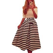 Las Mujeres Elegantes Del Hombro Vintage Años 50 60 Rayas Vestido Estampado Patchwork Swing